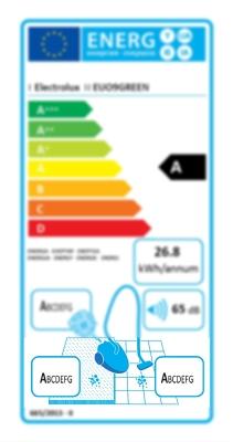 štítek účinnost vysávání
