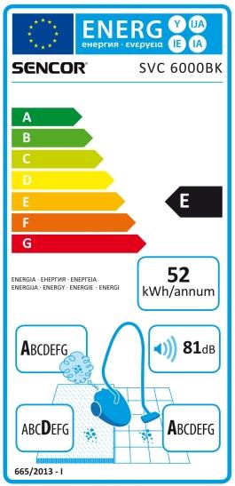Energetický štítek Sencor SVC 6000