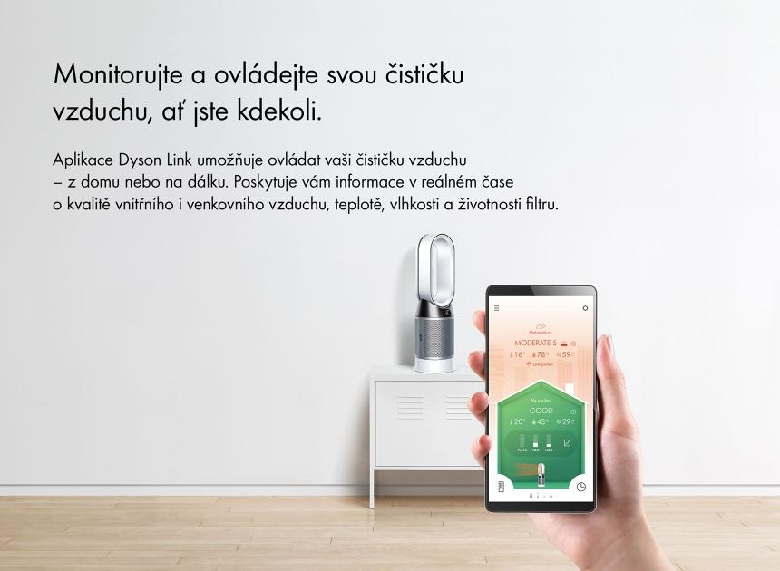 Čistička vzduchu a topení Dyson HP04 aplikace na mobil