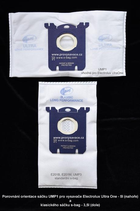 Porovnání orientace sáčků Electrolux s-bag