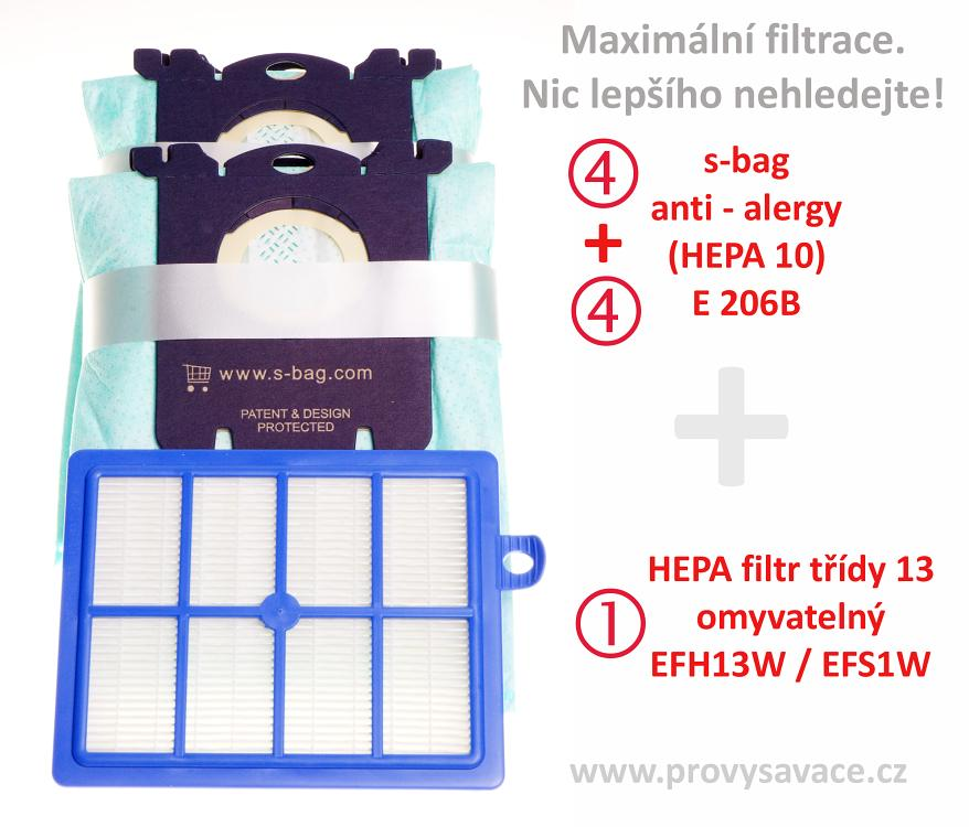 8 sáčků s-bag a hepa filtr omyvatelný